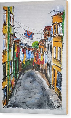 Side Street Wood Print by Zaira Dzhaubaeva