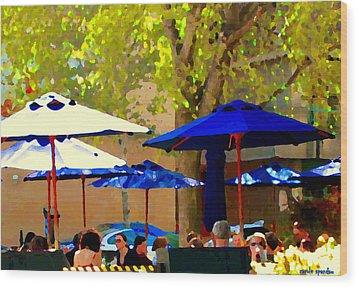 Sidewalk Cafe Blue Bistro Umbrellas Downtown Oasis Terrace Montreal City Scene Carole Spandau Wood Print by Carole Spandau
