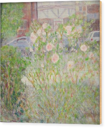 Sidewalk Flowers In Chicago Wood Print