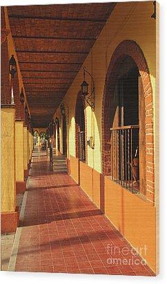 Sidewalk In Tlaquepaque District Of Guadalajara Wood Print by Elena Elisseeva