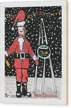 Sidewalk Santa.card Wood Print