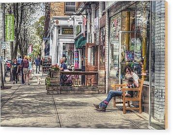 Sidewalk Scene - Great Barrington Wood Print