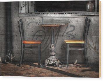 Sidewalk Seating Wood Print by Brenda Bryant