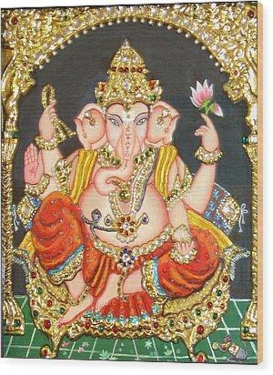 Sidha Ganapathi Wood Print by Jayashree
