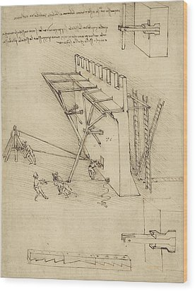 Siege Machine In Defense Of Fortification With Details Of Machine From Atlantic Codex Wood Print by Leonardo Da Vinci