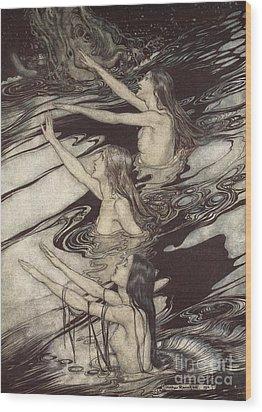 Siegfried Siegfried Our Warning Is True Flee Oh Flee From The Curse Wood Print by Arthur Rackham