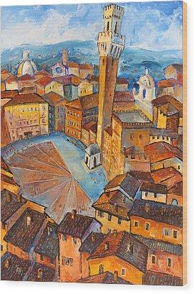 Siena-piazza Dil Campo Wood Print by Mikhail Zarovny