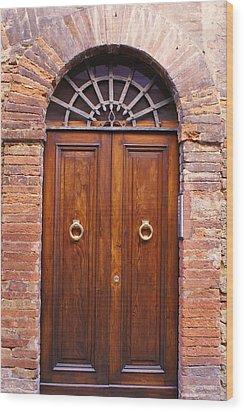 Sienna Door Wood Print by Barbara Stellwagen