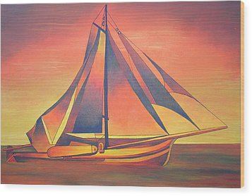 Wood Print featuring the painting Sienna Sails At Sunset by Tracey Harrington-Simpson