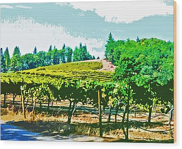 Sierra Foothills Vineyard Wood Print by Charlette Miller