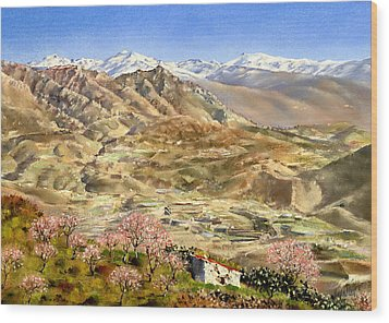 Sierra Nevada With Almond Blossom Wood Print by Margaret Merry