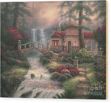 Sierra River Falls Wood Print by Chuck Pinson