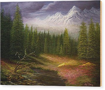 Wood Print featuring the painting Sierra Spring Storm by Loxi Sibley