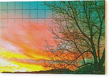 Sierra Sunset Cubed Wood Print