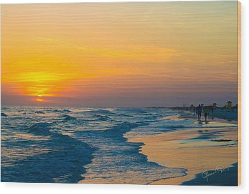Siesta Key Sunset Walk Wood Print
