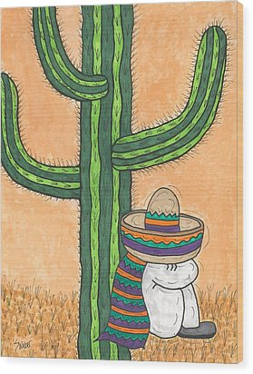 Wood Print featuring the painting Siesta Saguaro Cactus Time by Susie Weber