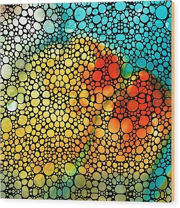 Siesta Sunrise - Stone Rock'd Art Painting Wood Print by Sharon Cummings