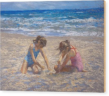 Sifting Sand Wood Print by Jackie Simmonds