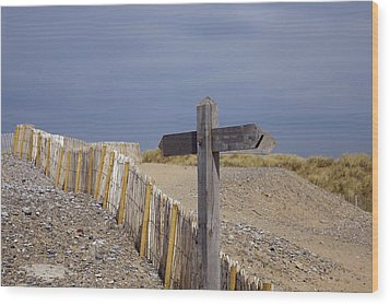 Sign Post To Nowhere Wood Print by Christopher Rowlands