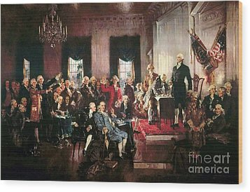 Signing Of The United States Constitution Wood Print by Pg Reproductions