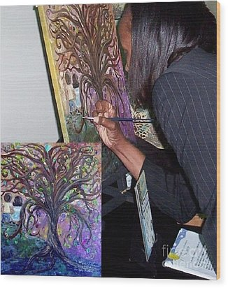 Signing The Tree With Jackie Joyner- Kersee  Wood Print by Eloise Schneider