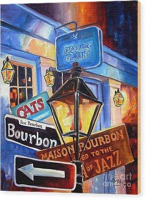 Signs Of Bourbon Street Wood Print by Diane Millsap