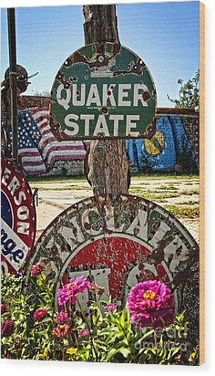 Signs Of The Times On Route 66 Wood Print by Lee Craig