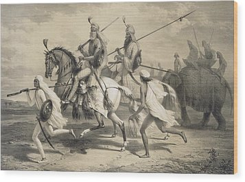 Sikh Chieftans Going Hunting Wood Print by A Soltykoff