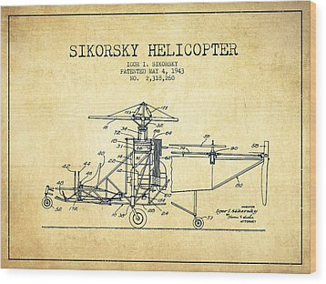 Sikorsky Helicopter Patent Drawing From 1943-vintage Wood Print by Aged Pixel
