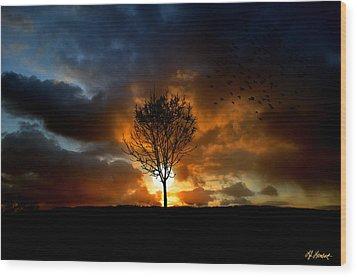 Silence Wood Print by Lj Lambert