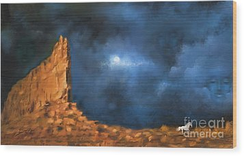 Wood Print featuring the painting Silence Of The Night by Sgn