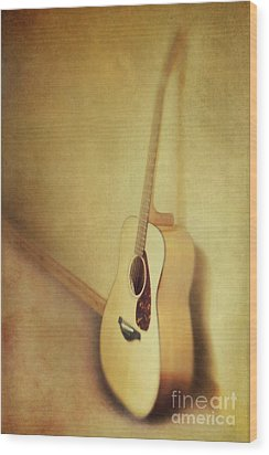 Silent Guitar Wood Print by Priska Wettstein