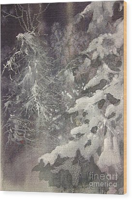 Wood Print featuring the painting Silent Night by Elizabeth Carr