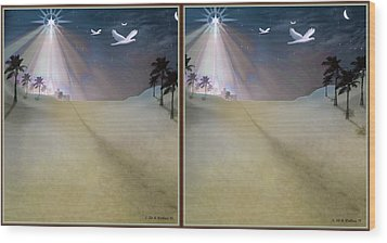 Silent Night - Gently Cross Your Eyes And Focus On The Middle Image Wood Print by Brian Wallace