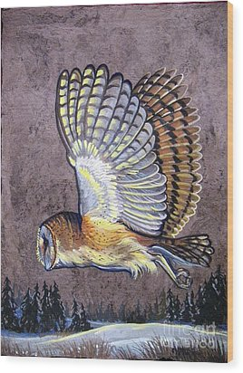 Silent Night Owl Wood Print by Anne Shoemaker-Magdaleno