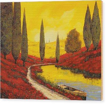 Silenzio Tra I Cipressi Wood Print by Guido Borelli