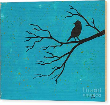 Silhouette Blue Wood Print