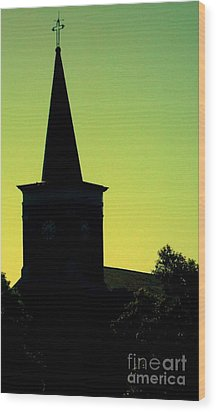Silhouette Church Wood Print by JoNeL Art
