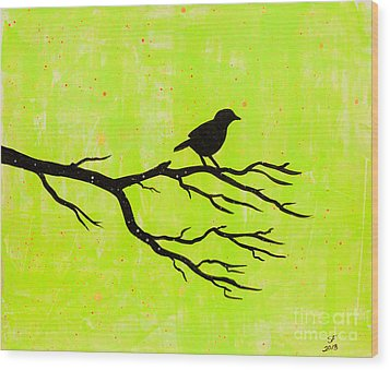 Silhouette Green Wood Print by Stefanie Forck