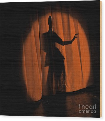 Wood Print featuring the photograph Silhouette Of A Singer ... by Chuck Caramella