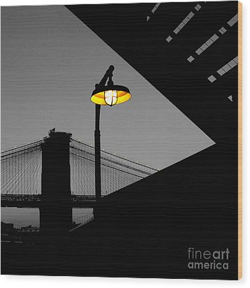 Silhouette Of Brooklyn Bridge New York City Wood Print by Sabine Jacobs