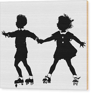 Silhouette Of Children Rollerskating Wood Print by Rose Santuci-Sofranko