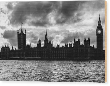 Silhouette Of  Palace Of Westminster And The Big Ben Wood Print by Semmick Photo