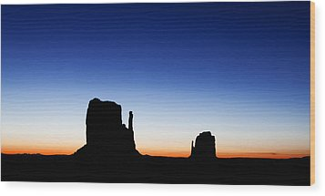 Silhouette Of The Mitten Buttes In Monument Valley  Wood Print by Susan Schmitz