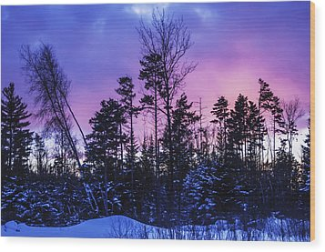 Silhouette Of Trees During A Colourful Wood Print by Jacques Laurent