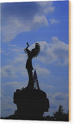 Silhouetted Keeper Of The Plains Wood Print