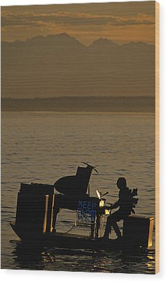 Silhouetted Sea Monster Playing Piano.tif Wood Print by Jim Corwin