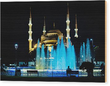 Silhouettes Of Blue Mosque Night View Wood Print by Raimond Klavins