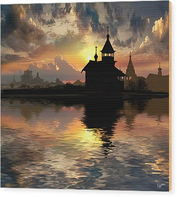 Silhouettes Of The Christianity Wood Print by Igor Zenin