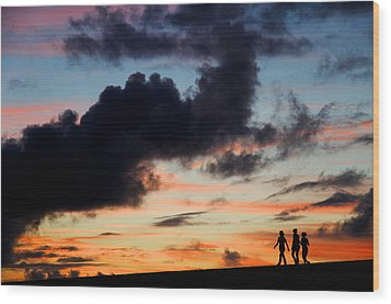 Silhouettes Of Three Girls Walking In The Sunset Wood Print by Fabrizio Troiani